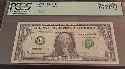 Extremely Low Serial Number & Extremely Highly Graded $1 1995 Pcgs 67 Ppg Gem!!!