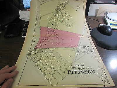 Original 1873 Part Of  Borough Of Pittston Pa Map 2 & Business Notice Excellent