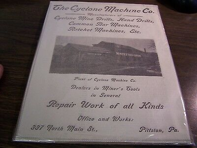The Cyclone Machine Co - 1/4 Pages Gazette Ad March 26Th 1907 Pittston