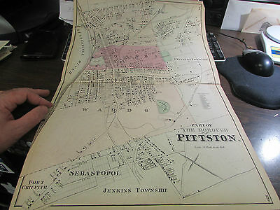 Original 1873 Part Of  Borough Of Pittston Pa Map 1  - Excellent