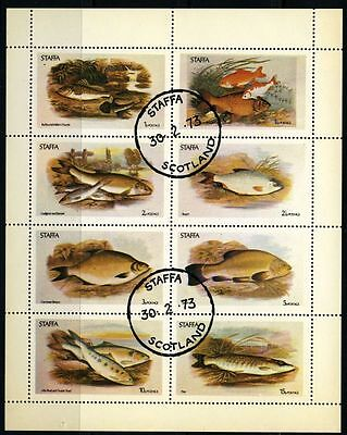 Staffa 1973 sheet fishes USED Sc unknown CV $8.00 170109166