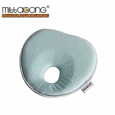 Mittagong Infant Prevent Flat Head Support Heart Memory Foam Baby Pillow,Blue