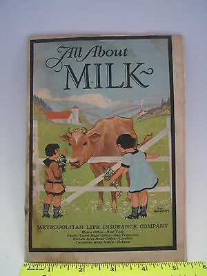 Vintage 1927 Childrens Book, All About Milk, Metropolitan Life Insurance Company