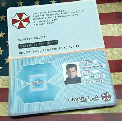 Resident Evil Umbrella Corporation ID Security Badge Passport Card Customized