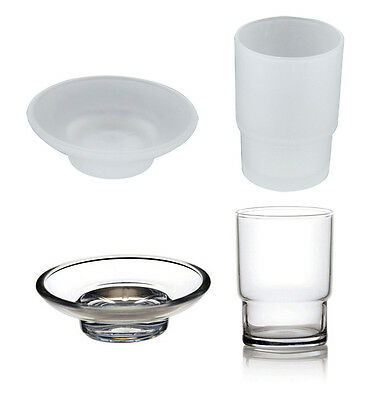 Glass Tumbler Mug and Soap Dish Replacement Spare Bath Accessory Universal Set