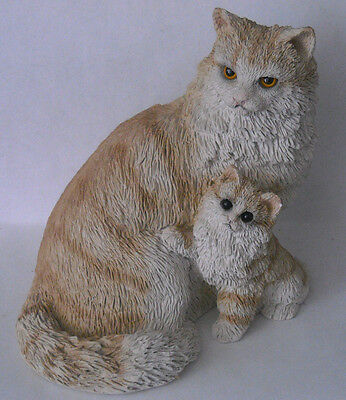 "FLAWLESS*VINTAGE* Stone Critters Angora~3.5"" TALL MOTHER & KITTY CAT TABBY~1994"