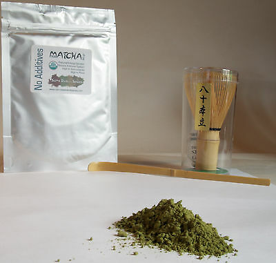 Matcha Starter Kit, Bamboo Whisk,  Bamboo scoop & organic Matcha Green Tea