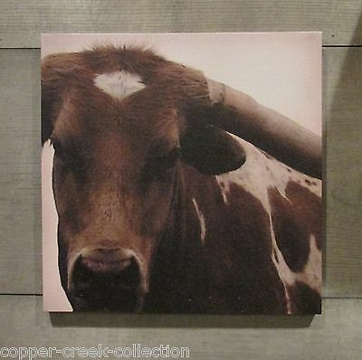 Canvas Brown Longhorn COW Wall Picture Sign*Primitive/Country Farmhouse Decor