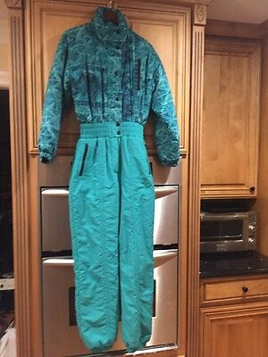 Vtg 80s 90s Teal SNUGGLER Womens 10 Neon Onesie Snow SKI Suit BIB coat Snowsuit