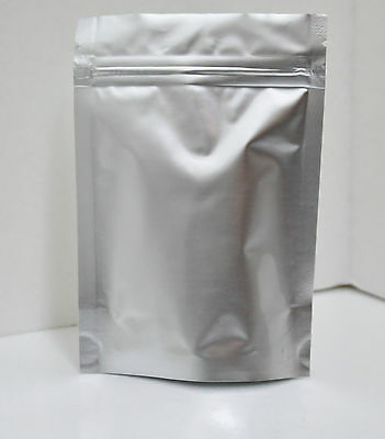 "500 STAND UP FOIL BAGS/POUCHES 4.25""X6.25""X1.5"" WITH ZIPPER Matte Finish Silver"