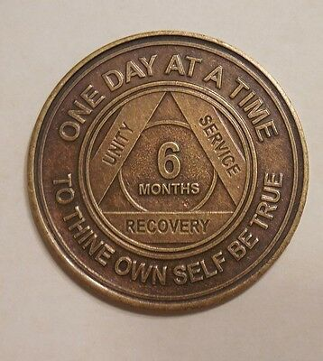 aa bronze alcoholics anonymous 6 month sobriety chip coin token medallion