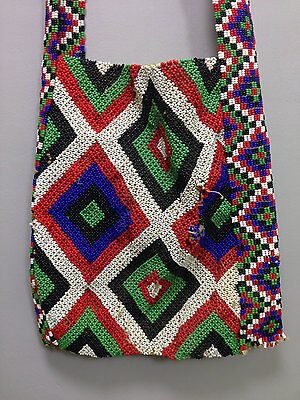 Zulu South African Red Blue Beaded Purse
