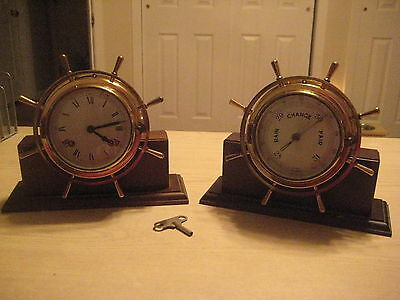 Vintage Ships Clock And Barometer Germany  Works/chimes With Key And Stands  !!!