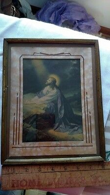 Antique Framed Jesus Picture Pre WWII  8x10