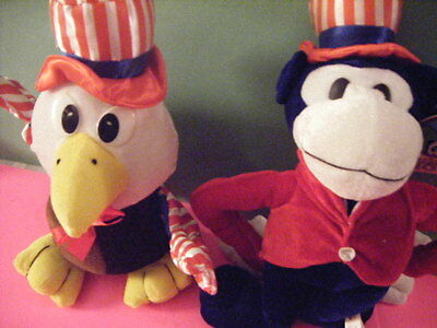 "Patriotic Monkey & Eagle Plush Dolls 16"" And 14"""