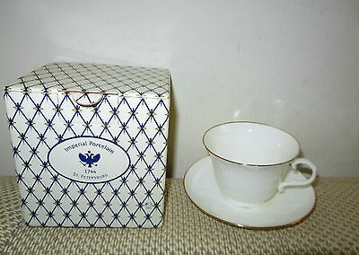 Rare Russian Imperial Porcelain 1744 St. Petersburg Cup and Saucer - New in Box