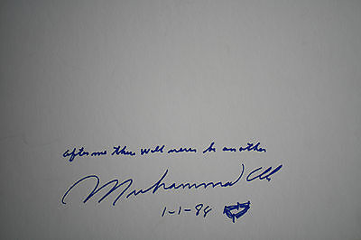 """Muhammad Ali """"the Greatest"""" Ali - Autograph Quotation Drawing Signed 01/01/1988"""