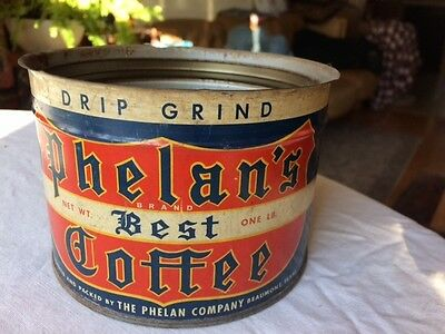 PHELAN 1 lb Key Wind Coffee Tin Can Beaumont Texas NEVER USED