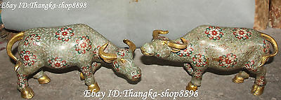 "12"" Cloisonne Enamel Gilt Zodiac Year Ox Oxen Cow Cattle Bull Animal Statue Pair"