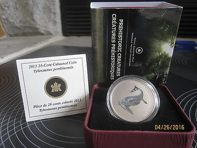 "25 Cent Coloured  Glow in the dark Coin ""TYLOSAURUS PEMBINENSIS "" 2013 CANADA"
