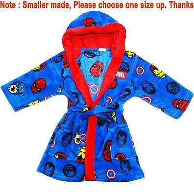New Sz 2-9 Kids Winter  Dressing Gown Avenger Marvel Boys Robe Pjs Nighties Tee