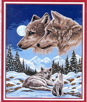 """""""Wolf Pair Pack dreams"""" Tapestry WOOL KIT to stitch- 50 x 60cm....NOW IN RUN OUT"""