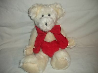 New Hallmark Valentine's Day White Plush Russell Jointed Teddy Bear W/red Heart