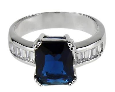 18KT Sapphire Stone Rings Wedding Jewelry for Women Bands Gifts US size7