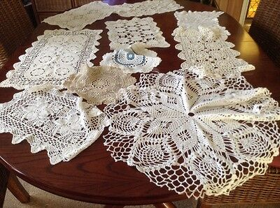 Vintage Chrochet  And Lace Doilies X 10 Lot O
