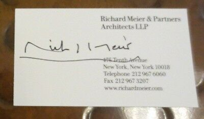 Richard Meier architect signed autographed business card Getty Ctr Los Angeles