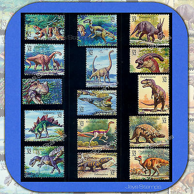 1997  WORLD of DINOSAURS  Complete Set of 15 Stamps in MINT condition 3136 a-o