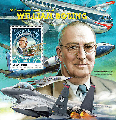 Sierra Leone 2016 MNH William Boeing 60th Mem 1v S/S Aircraft Aviation Stamps