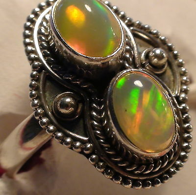 Natural! Ethiopian Opal 3.50 Ct Ring  925 Sterling  Silver.size 6.5