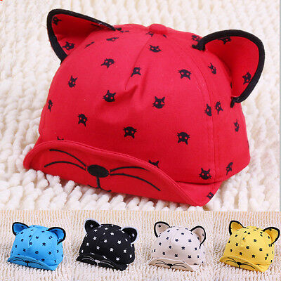 Newborn Baby Kids Cartoon Baseball Cap Cat Ear Sun Hat Cute Fashion Unisex