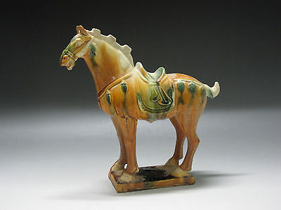 Chinese Tang three-color Pottery Horse Statue brown green white Glaze Horse