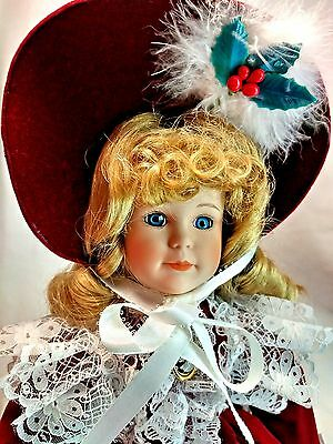 "Dynasty Collection QVC Vintage Dorathy Velvet Red 17"" Porcelain Bisque Doll MIB"
