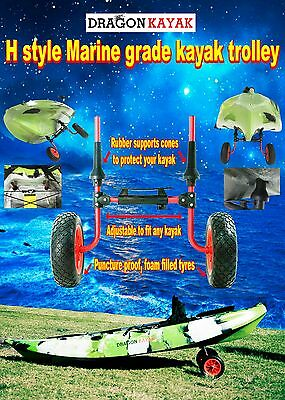 kayak trolley - New 2017 model fit all kayaks with scupper holes - Marine Grade