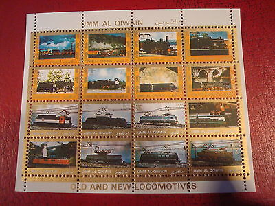 Umm Al Qiwain - Old And New Trains - Minisheet - Unmounted Used - Ex Condition