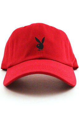 e30ce4b897e PLAYBOY BUNNY Custom Unstructured Baseball Dad Hat Cap New - Red w  Black  Bunny