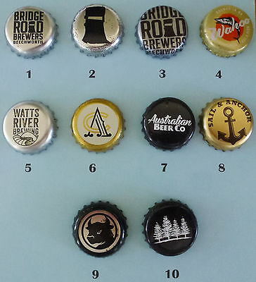 10 Crown seal bottle caps from small breweries in Australia (Lot 4)