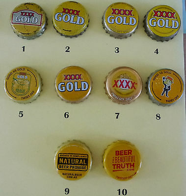 10 XXXX Gold Crown Seal Caps From Australia (Lot 8)