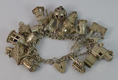 Heavy Vintage Solid Silver Ladies Charm Bracelet with Many Rare Charms