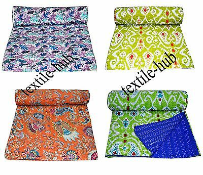 Handmade Wholesale Lot 4 pcs Indian Cotton Kantha Quilt Throw Queen Bedspread