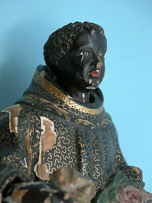 BLACK SANTO GLASS EYES St.BENEDICT OF PALERMO  ESTATE ULTRA RARE 17th century