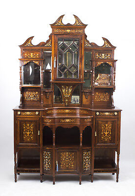 Antique Victorian Rosewood Marquetry Side Cabinet  C.1890