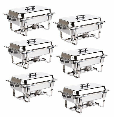 Catering 6 Pack Stainless Steel Chafer Chafing Dish Sets 8 Qt Full Size Buffet