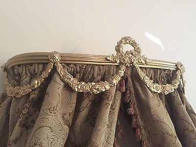 Antique Ornate Ciel De Lit Gold Sofa Chair Day Bed French / Italian Crown Canopy