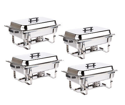 4 Pack Catering Chafer Stainless Steel Chafing Dish Sets 8 Qt Party Pack +Rebate