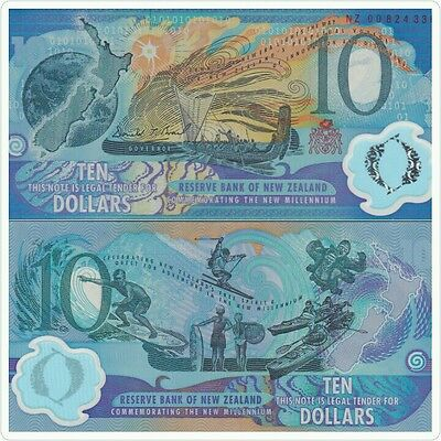NEW ZEALAND 10 Dollars Commemorative Polymer Banknot 2000 UNC Red Serial
