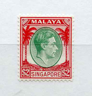 SINGAPORE 1948 $2 green and scarlet perf 14 um/MNH, light gum crease. SG 14